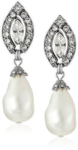 Ben-Amun Jewelry Swarovski Crystal Marquise Cut Glass Pearl Drop Earrings for Bridal Wedding Anniversary by Ben-Amun Jewelry