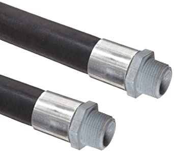 Continental ContiTech Pacer Black Rubber Gasoline Dispensing Hose Assembly, NPT Male Couplings, 50 PSI Maximum Pressure