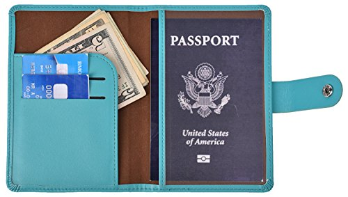 RFID Blocking Passport Holder Wallet Cover Case Leather Travel Journey Wallet (Blue)