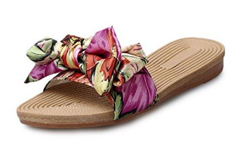 Women's Printed Bow-knot Flip Flops Beach Slippers - UK 6.5 / EUR 40 2j6IvACGs