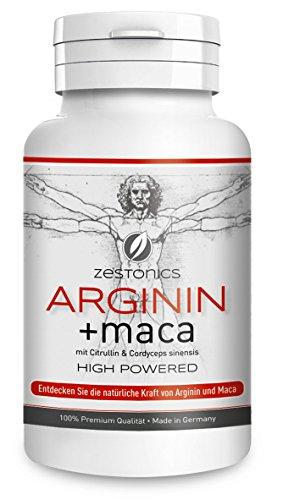 NEU: L-Arginin 2.400mg plus Maca 34.000mg HOCHDOSIERT mit Citrullin & Cordyceps - Arginin Base plus Maca Pulver in 120 Kapseln - Monatsbedarf