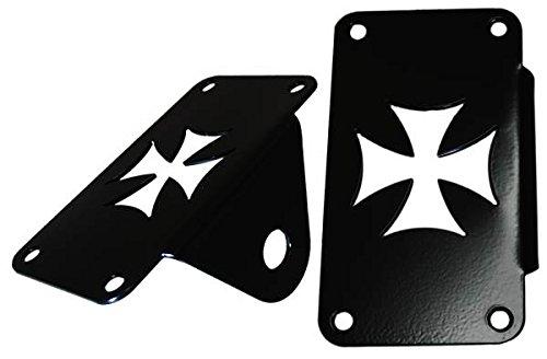 Universal Black Powder Coated Vertical Side Mount License Plate Frame - Iron (Coated Biker Style Jacket)