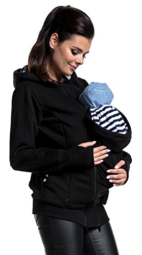 Zeta Ville - Womens Maternity Hooded Sweatshirt Removable Panel Pregnancy - 430c (Black, US 4, S) (Removable Panel)