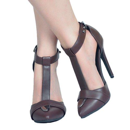 T High Summer Heel Chocolate Pointy Strap Ladies Handmade Shoes CASSOCK Fashion wqIR7fW