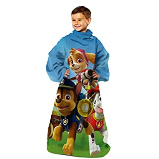 """Nickelodeon's Paw Patrol, """"Race to the Rescue"""" Youth Comfy Throw Blanket with Sleeves, 48"""" x 48"""", Multi Color"""
