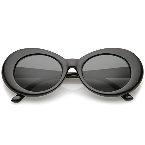 Black And White Movie Stars Halloween (zeroUV - Bold Retro Oval Mod Thick Frame Sunglasses Clout Goggles with Round Lens 51mm)