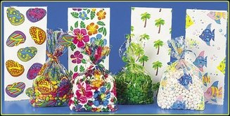 Tropical Luau Flip Flop (Tropical Luau Cellophane Party Favor Bags - 48 Pc Mega Pack - Tropical Designs Include Palm Trees, Hibiscus, Fish and Flip Flops)
