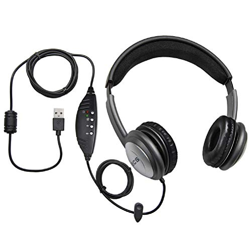 - ECS WordSlinger USB Overhead Transcription Headset with Leatherette Cushioning