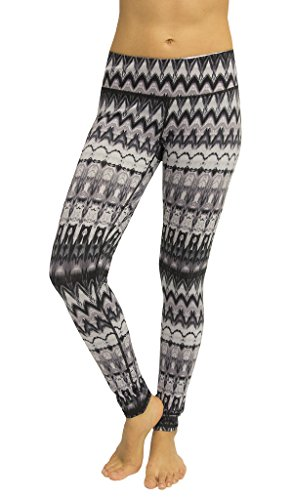 90 Degree By Reflex Performance Activewear - Printed Yoga Leggings - Waterfall Grey - XL (Womens Wear Waterfall)