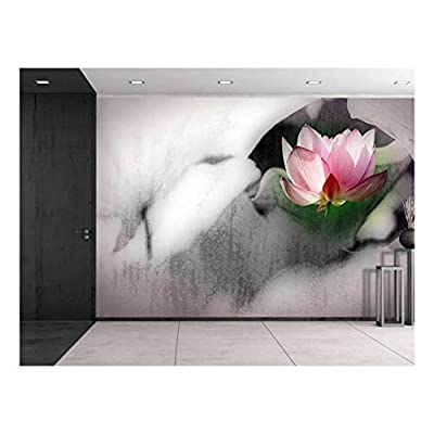 Pretty Picture, Pink Lotus Flower on a Foggy Black and White Setting Wall Mural, Classic Artwork