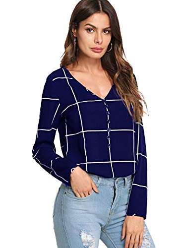 - SweatyRocks Women's Casual Chiffon V Neck Plaid Long Sleeve Blouse Shirt Tops Navy X-Small
