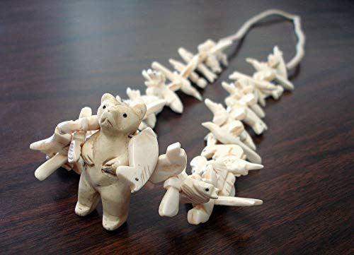 Hand Carved Standing Bear with Bone Animal Fetishes Southwestern Necklace