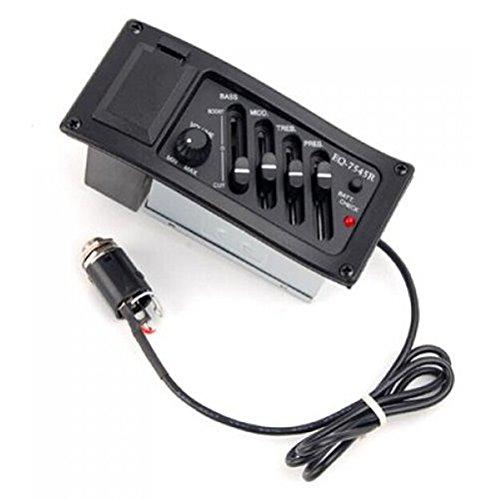 ULTNICE 4 Bands Acoustic Guitar Preamp Amplifier Equalizer Pickup Tuner (Black)