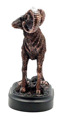 L7 Enterprises Patinated Copper Bronze Bighorn Sheep Statue, Sculpture, Figurine