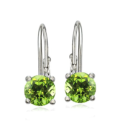 Bria Lou 925 Sterling Silver 6mm Round August Birthstone Color Leverback Drop Earrings Made with Swarovski (Color Stones Dangle Earrings)