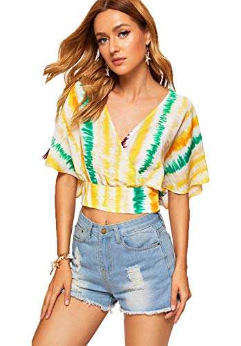 Milumia Women's Sexy Deep V Neck Cross Wrap Slim Fit Crop Tops Multicolor-2 -