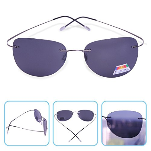 Rimless Titanium Alloy Comfort Polarized Sunglasses 9g Light Weight (Aviator Black)