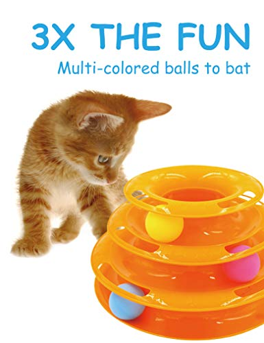 Petove Cat Toys Tower of Tracks 3 Level Cat Tracks Interactive Ball Toy and Feather Fluffy Mouse Toy Set for Cat, Kitten (Orange) by Petove (Image #1)