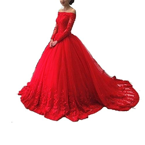 Pettus Women's Long Sleeves Lace Ball Gown Evening Dress Prom Dresses Long (Red Wedding Dress)