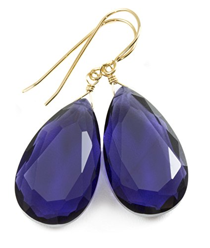 14k Yellow Gold Violet Blue Simulated Tanzanite Earrings Faceted Teardrops Simple Large Drops 1.7