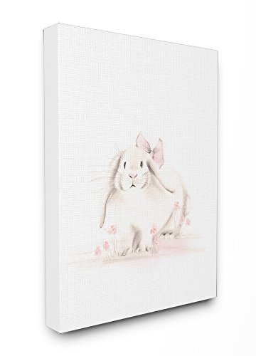 Stupell Industries Baby Bunny with Pink Bow Stretched Canvas Wall Art, 16 x 1.5 x 20, Proudly Made in USA -