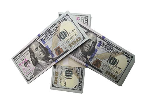 cture Money 100pcs $100 Dollar Bills Look Real 2 Sided Full Printing Realistic Play Money for Kids, Copy Money for Movie Props, Videos, Party Play, Pranks ()