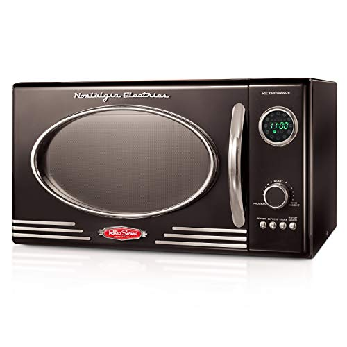Nostalgia RMO4BK Retro 0.9 Cubic Foot 800-Watt Countertop Microwave Oven, 5 Power Levels and 12 Cook Settings, LED Display, Jet Black