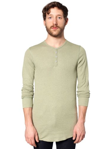 Melange Thermal (American Apparel Men Baby Thermal Henley Long Sleeve T-Shirt Size XXS Mélange)