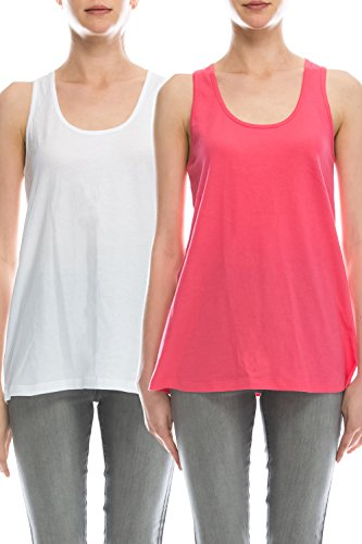 Tunic Top Set - EttelLut Loose Fit Relaxed Flowy Knit Tank Top: workout jersey sexy cheap pack White/Coral L