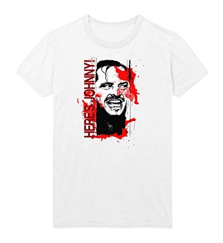 Heres Johnny Shining Nicholson Men Shirt T-Shirt Black Cotton Mens LG Christmas White Shirt