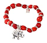 Peruvian Bracelet for Women - Huayruro Red Seeds, Stretchy, Elephant Charm - Natural Handmade Ecofriendly Jewelry by Evelyn Brooks