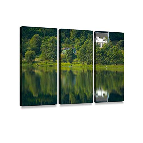 Lakeshore lodgePrint On Canvas Wall Artwork Modern Photography Home Decor Unique Pattern Stretched and Framed 3 Piece (Best Photography Locations In The Lake District)