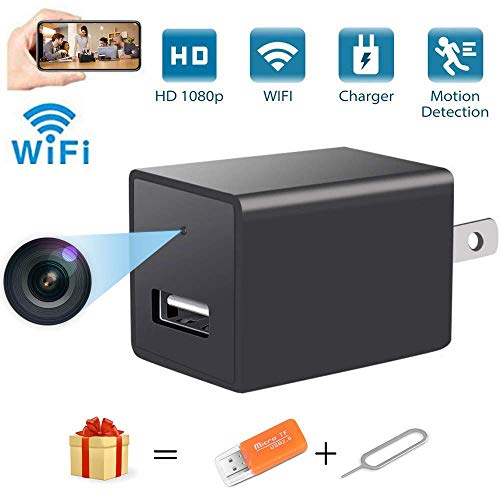 Mini USB Charger Spy Camera WiFi Hidden Camera Portable Full HD 1080P Wireless Small Indoor Home Security USB Charger Camera Nanny Cam with Motion Detection (Black1)