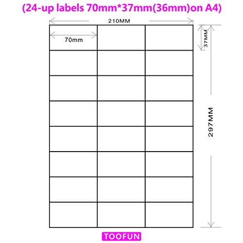 Amazon FBA Label (100 Sheets, 2400 Labels) 24-up labels 70x37(36)mm on A4 White Self Adhesive Shipping Mailing stickers for Laser/InkJet Printer, Meets Amazons FBA requirements-TOOFUN ()