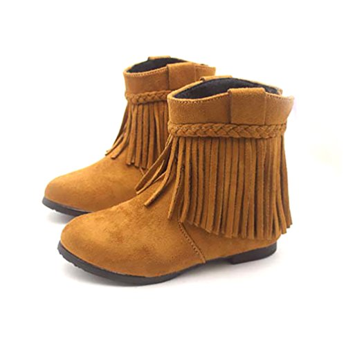 D.LIN Girls' Indy Fringe Suede Boots Girl Winter Boot ( Little Kid ) - Cheap Moccasin Boots
