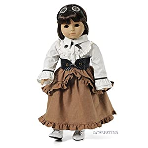 CARPATINA Camden Steampunk Outfit Fits American Girl Dolls – Skirt, Blouse, Corset, Goggles and Shoes