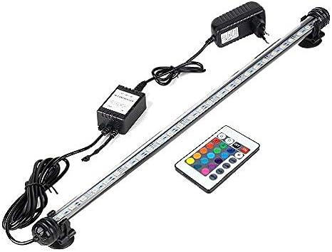 Hoonee Luce per Acquario, Cambio di Colore - Telecomando, Impermeabile - Luce per Acquario sommergibile, Sfondo a Strisce di luci a LED Decorare lilluminazione