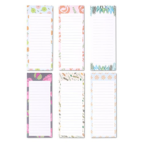 To-do-List Notepad - 6-Pack Magnetic Notepad, Grocery List Magnet Pad Stationery for To Do List, Floral Designs, 60 Sheets Per Pad (Fridge Memo Pad)