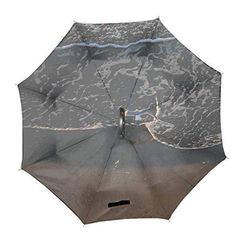 Travel Umbrella, 8 Ribs Finest Windproof Seagulls Waves Myrtle Beach SC Birds Animals Umbrella with Teflon Coating, Auto Open Close and Upgraded Comfort Handle (Sc Umbrella Myrtle Beach Beach)