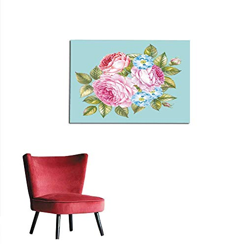 homehot Photo Wall Paper Flowers and Leaves Watercolor Illustration Bouquet of Roses Flowers Vintage Watercolour Botanical Illustration Red Rose Isolated on White Background Mural 32