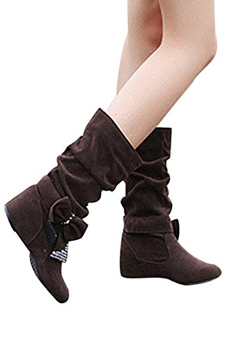 R SODIAL flach 37 Stiefel mode Slouch kaffeebraun Damen mittlere hoch Schleife Fggdq4