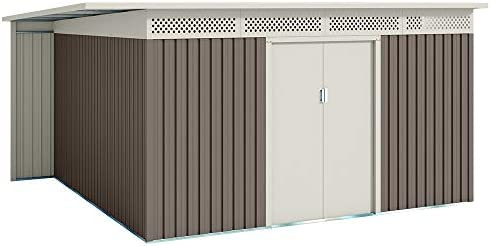 Hoggar by Okoru Caseta metálica Gris/Beige para Almacenamiento 13,22 m2 397x333x191cm. Cobertizo Jardin