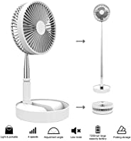 "Portable Standing Fan, 7.5"" Foldable Desk Fan, 7200mah Battery & USB Powered 4 Speeds Quiet Fan, Mini"