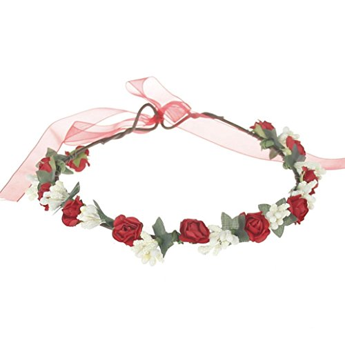 Redvive Baby Girls Headband Floral Rose Elastic Hairband Phtography Props (Red)