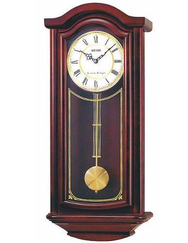 Seiko Wall Pendulum Clock Mahogany Finish Solid Wood Case by Seiko Watches