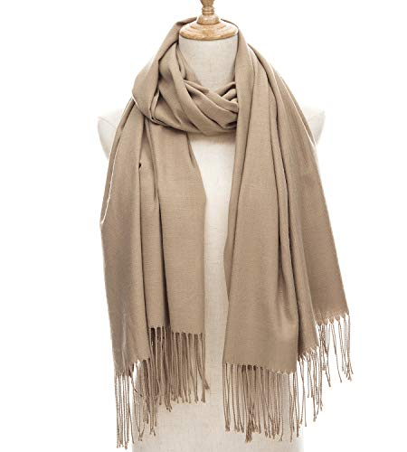 Women's Large Soft Blanket Pashmina Scarf Solid Color Long Warm Shawls Wraps (: Accessories Clothing Womens Khaki)