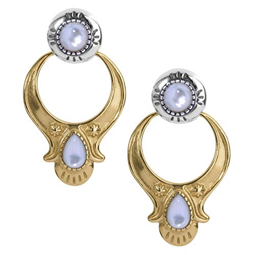 American West Sterling Silver and Brass White Mother of Pearl Gemstone Doorknocker Style Earrings (A Flower That Only Blooms At Night)