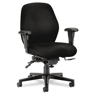 HONamp;reg; - 7800 Series High-Performance Mid-Back Task Chair, Tectonic Black - Sold As 1 Each - Wave-formed seat cushion distributes weight across a broader surface area, reducing stress on pressure points. - Chair Black Tectonic Fabric