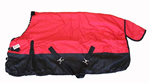 (AJ Tack Wholesale Pony Horse Turnout Blanket Rip Stop 600D Water Proof 300G Medium Weight Red 54)