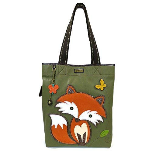 CHALA Everyday Tote Women Handbag, Purse for Work or School, Shoulder Bag Totes with Detachable Keychain (Olive Tote-Chala Fox)